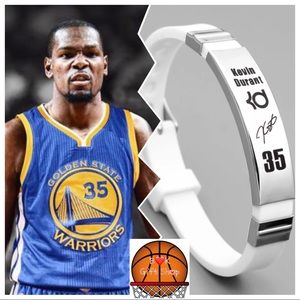 Nba Warrior Kevin Durant White Silver Bracelet